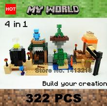 322 Pcs MY World legoelieds 4in1 steve zombie skeleton enderman minecraft  Building Blocks Optional Original Box Boys Toys Gifts(China (Mainland))