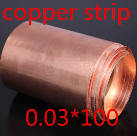 2 Meters 0.03*100mm 0.03mm High quality copper strip, sheet skin red copper,Purple copper foil,Copper plate(China (Mainland))
