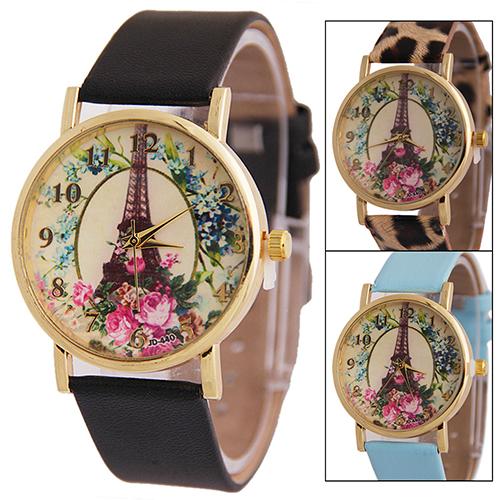 Bluelans New Womens Effiel Tower Flower Dial Faux Leather Band Analog Quartz Wrist Watch  181 G6TN<br><br>Aliexpress