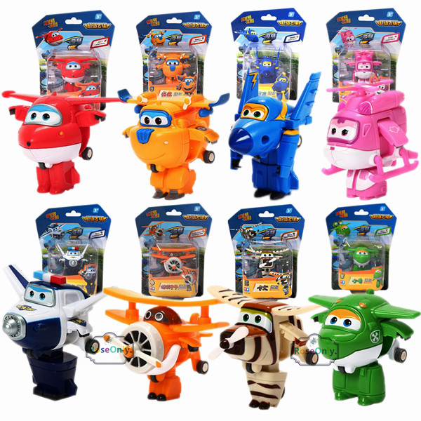 8pcs /Set Super Wings Mini Airplane Robot baby toys Action Figures Super Wing Transformation Animation for Children Kids Gift(China (Mainland))