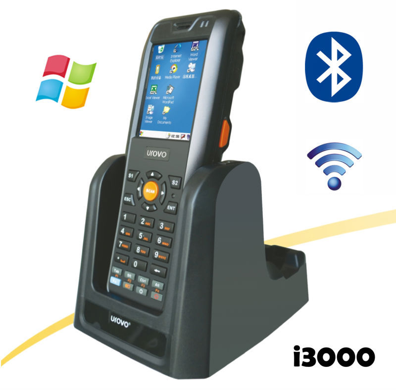 i3000WB Industrial Mobile Data Terminal, Handhold Terminal PDA with Barcode Scanner, mobile WIN CE PDA Windows with seat charger(China (Mainland))