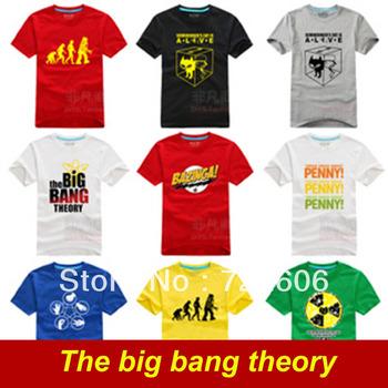 2013 cool The Big Bang theory Bazinga Sheldon Cooper The Evolution Of Man Geek Logo T shirt 6 size Free shipping