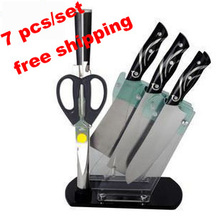 Nice Euro Style Fashion Design Kitchen Knives tools 7piece/set cutting tools knife set stainless steel with safety free shipping(China (Mainland))