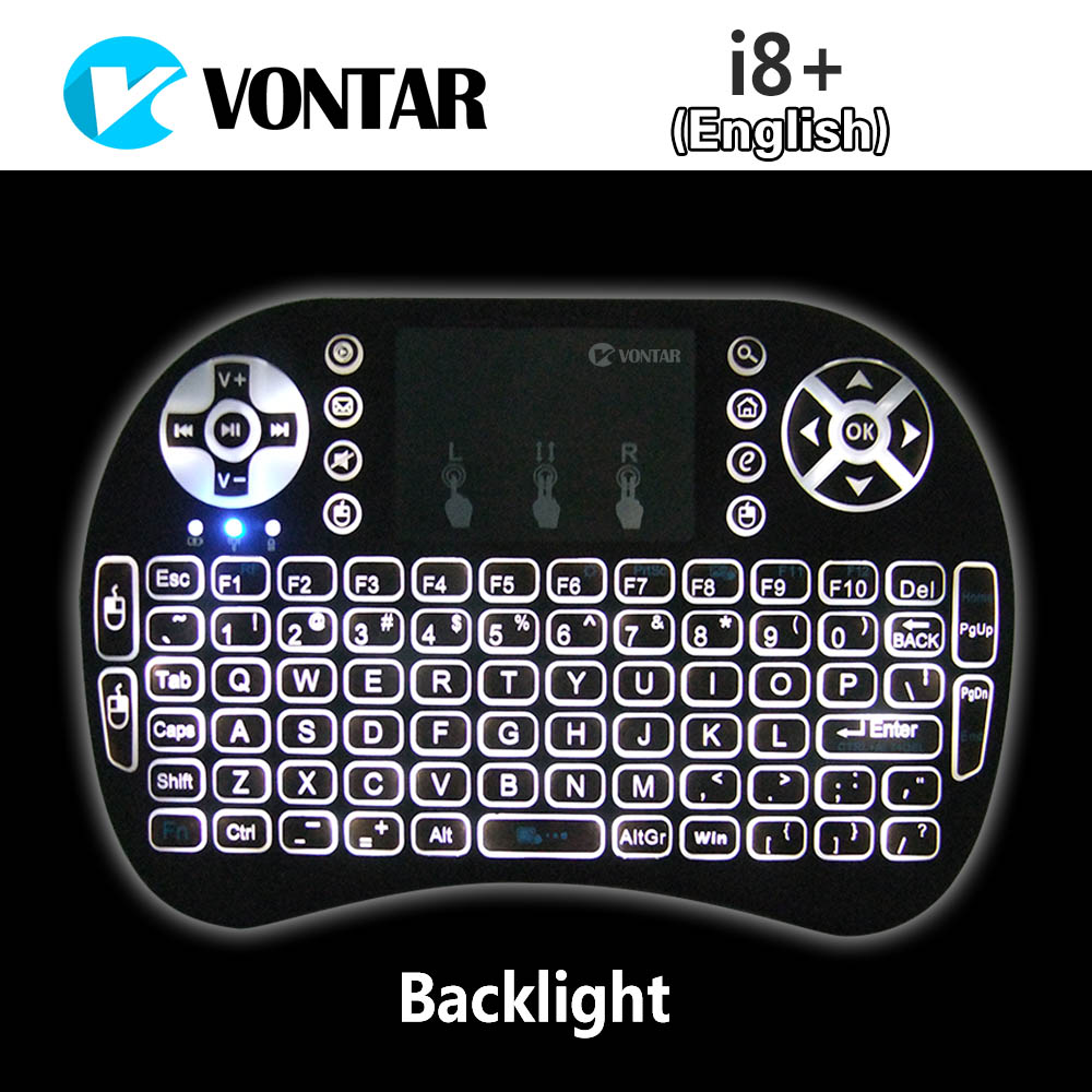 VONTAR Backlight i8+ English Russian Version Mini Wireless Keyboard 2.4GHz Air Mouse Touchpad for Android TV BOX Laptop Backlit(China (Mainland))
