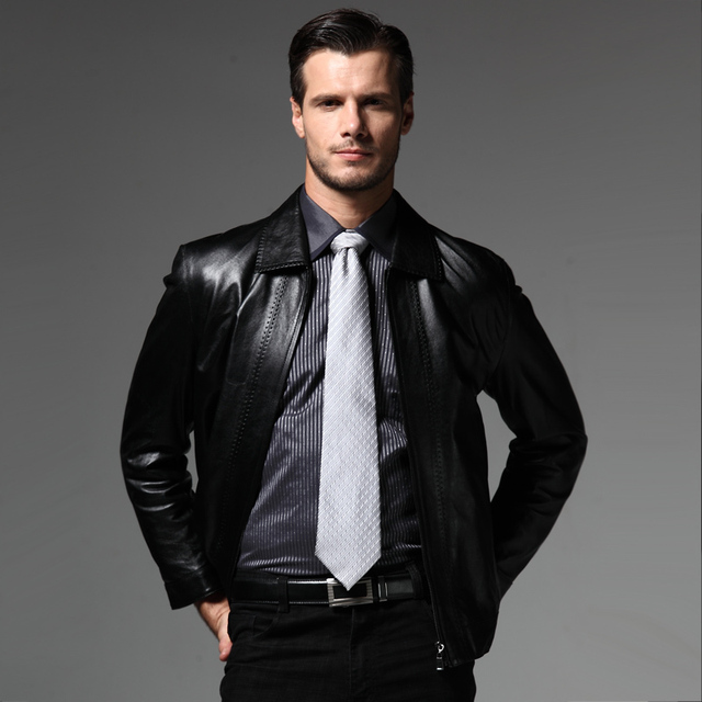 Male genuine leather clothing quality glossy sheepskin leather clothing male turn-down collar leather jacket