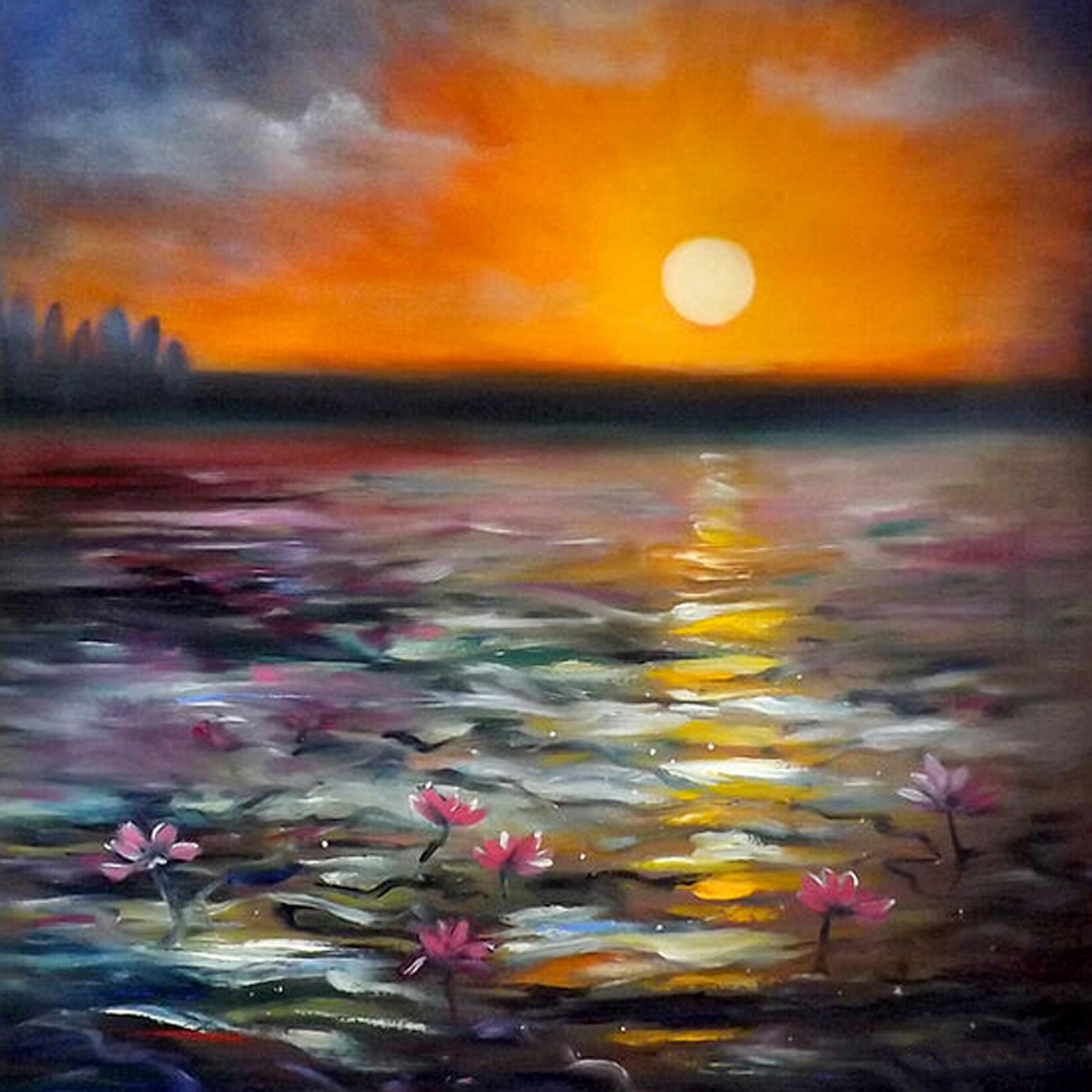 Dafen Wholesale Professional Artist Hand Paint Lotus Flower Scenery Painting Sunsets in Oil on Canvas for Office Wall Decoration(China (Mainland))