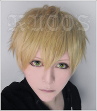 Heat Resistant Anime One Punch Man Genos Short Flaxen Costume Full Lace Cosplay Wig +Free Wig CAP(China (Mainland))
