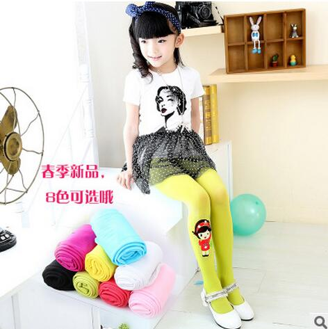 2016 Spring Cotton Girl Tights Kids Children Pantyhose Flower Print Girl Dance Stocking 3 to 11 Years(China (Mainland))