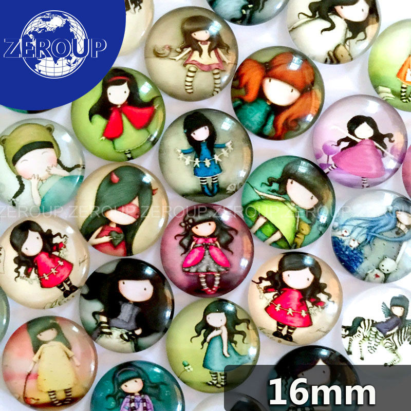 50pcs/lot 16mm round pattern glass cabochon,mixed cartoon girl pictures,flat back<br><br>Aliexpress