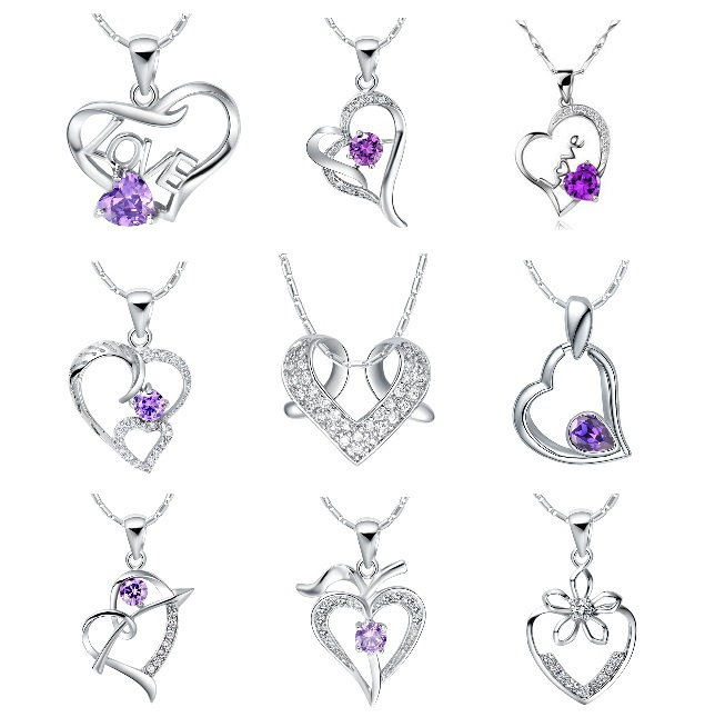 Heart Pendant Crystal Necklace 925 Sterling Silver Jewelry Purple Necklaces Women Gold 18k Accessories Fashion Collares Ulove(China (Mainland))