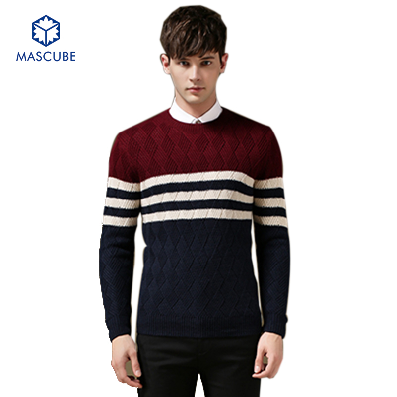 Men Pullover Sweaters Long Sleeved Collar Knitted Casual Hit Color Stitching Stripe Thicken Clothing Size M-2XL Polo Sweater(China (Mainland))