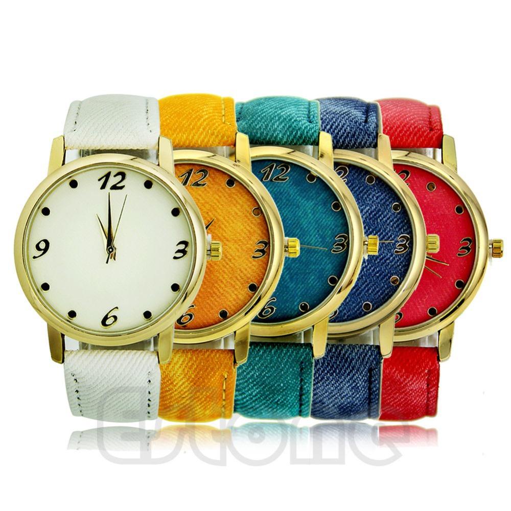 Free Shipping Durable Denim Cloth Strap Bracelet Unisex Sport Blue Watch Quartz Analog Watch(China (Mainland))