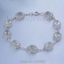 Vintage Real Diamond Bracelet Oval 6x8mm 14kt White Gold Natural Green Amethyst Bracelet , Gemstone Bracelet Jewelry(China (Mainland))