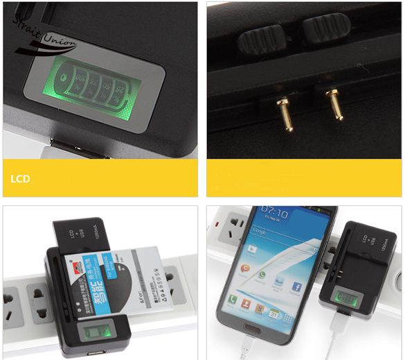 Universal LCD Indicator Mobile Battery Home Travel Charger For Cell Phones USB-Port US/EU Plug B2