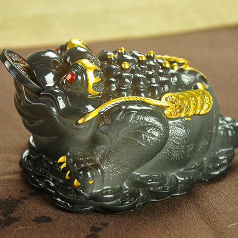 Color large tea color ornaments toad pet play toad Zhaocai three tea pet toad property(China (Mainland))