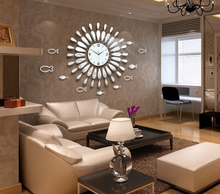 Creative mirror shine living room bedroom watch clock for Espejos grandes