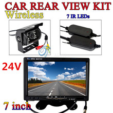 "Wireless 24V Car Rear View Kit 7"" LCD Monitor + IR Reversing Backup Camera 18LED(China (Mainland))"