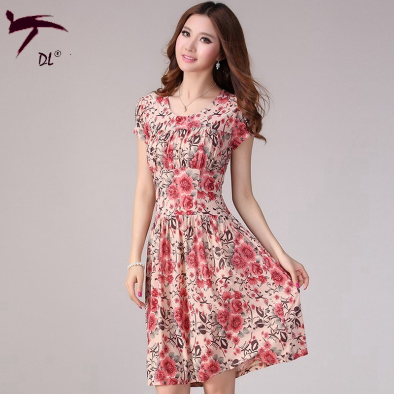 3 Color Summer Style Floral Print Dress Summer Beach Tunic Dress 2015 Elegant Red Midi Dress Vintage Casual Women Dress Brand(China (Mainland))