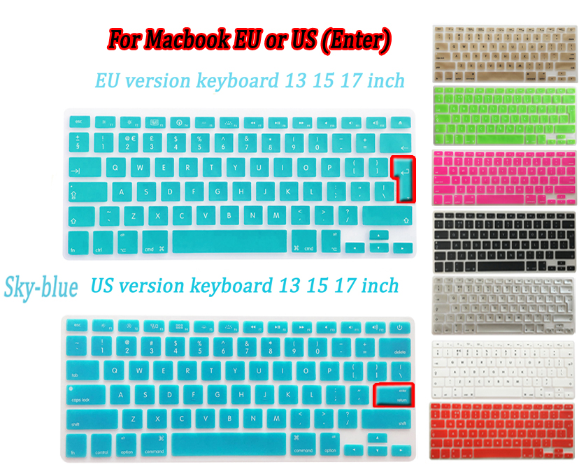 """EU or US Keyboard Cover for MacBook 13"""" 15"""" 17"""" inch A1278 A1286 A1502 A1425 A1398 A1466 laptop Silicone laptop Skin sticker(China (Mainland))"""