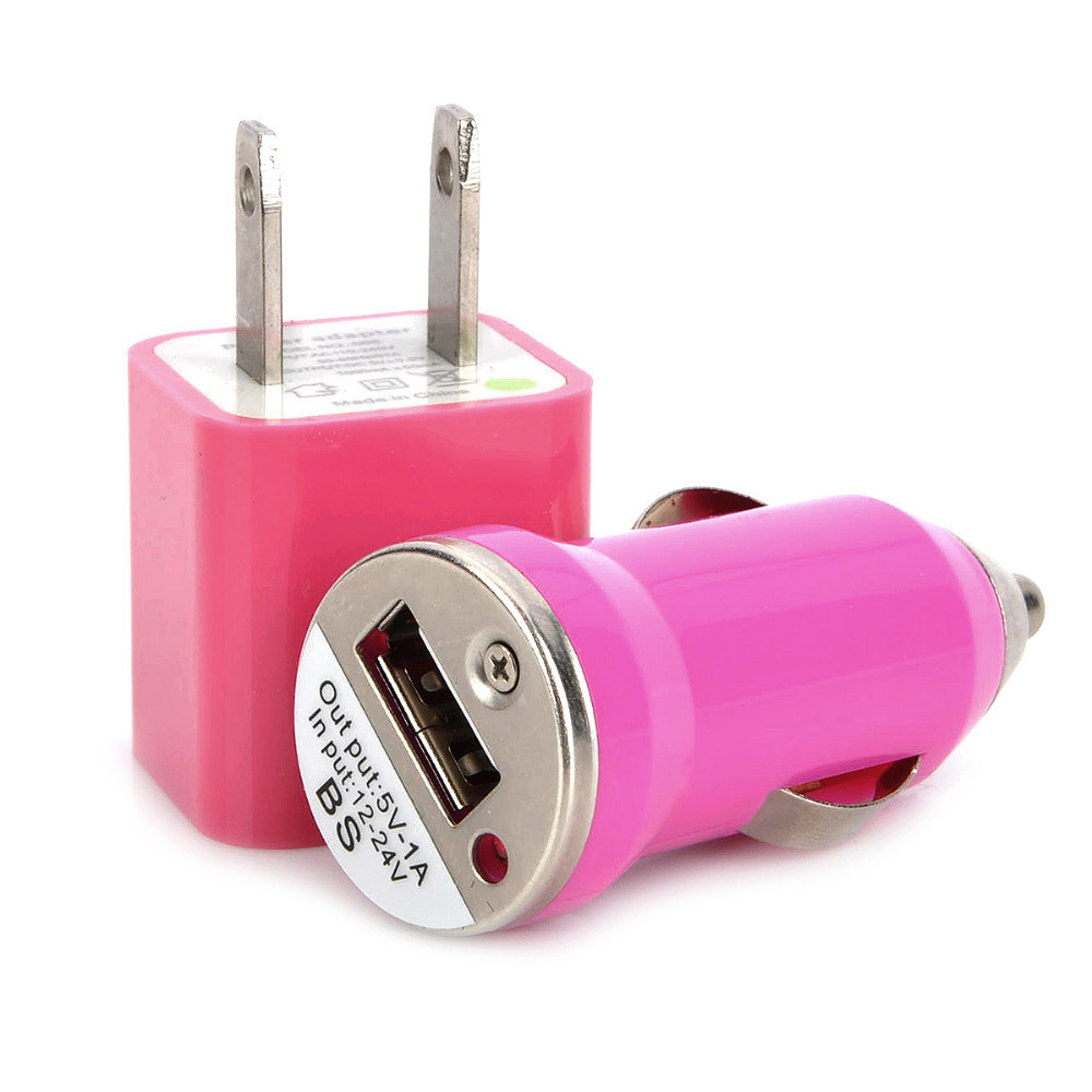 AC Power Adapter + Car Charger + USB Data/Charging Cable Set for Iphone 4 / 4S - Deep Pink(China (Mainland))