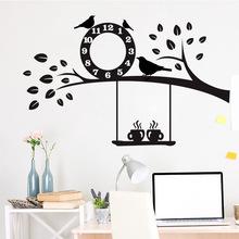 2017 Neue Moderne Uhr Wandaufkleber Braun Kreative Baum Wohnzimmer Wanduhr Aufkleber Kostenloser VersandChina