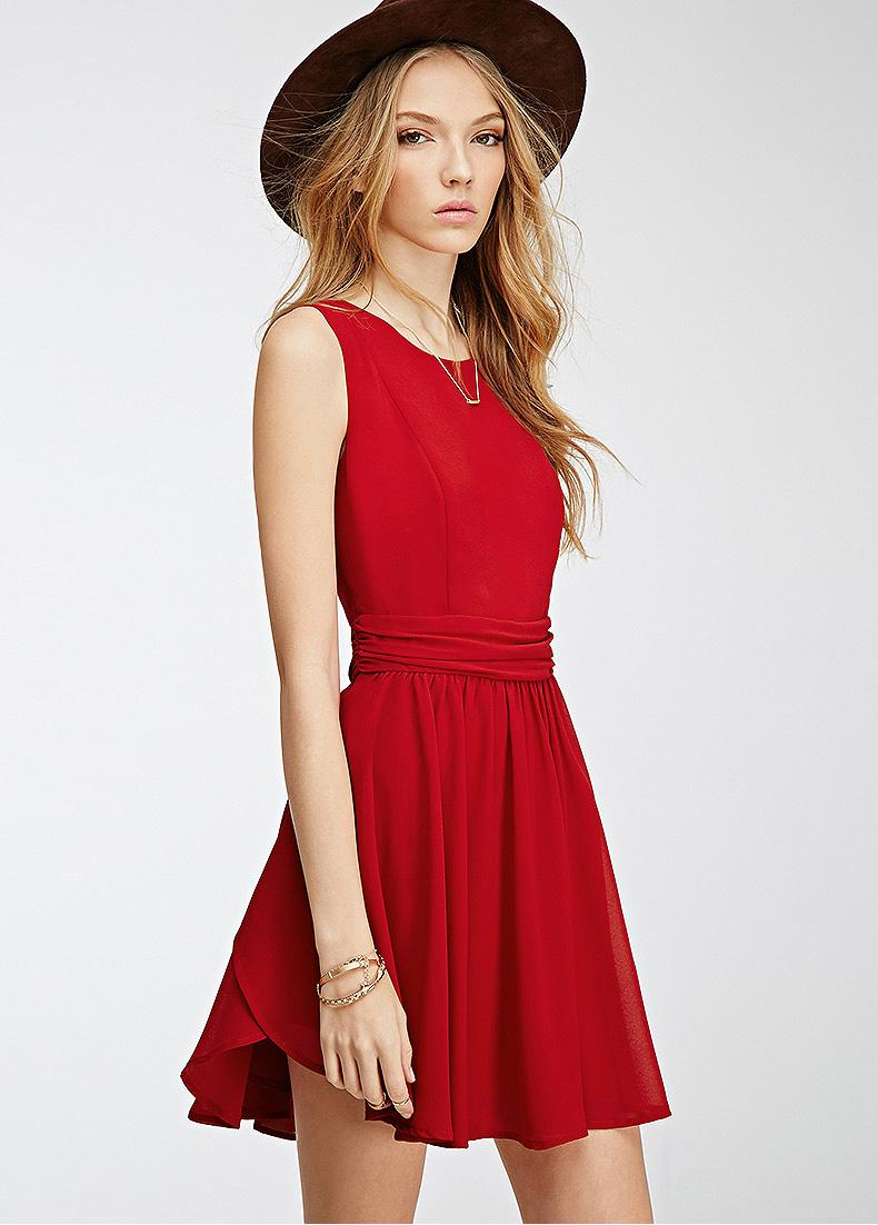 Red Summer Dress - Qi Dress