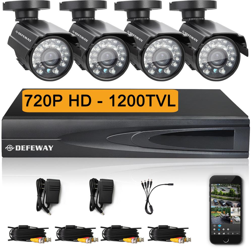 DEFEWAY 1280* 720P HD 1200TVL Outdoor Security Camera System 1080P HDMI CCTV Video Surveillance 4CH DVR Kit AHD Camera Set(China (Mainland))