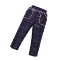 2016Kids Down Pants fo rboy Winter Clothing Warm Down Pants Plus Thick Trousers Snow Pants Velvet