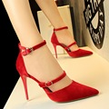 Sexy Women Pumps Shoes Ankle Strap 10cm High Heel Platform Women Shoes Pointed Toe Ladies Fashion