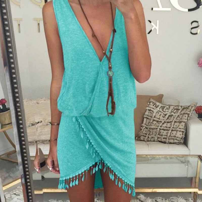 2015 Casual Summer Style Women Dress Sexy Cotton Fringe Tassel Dress Solid V-neck Tulip Smock Desigual Robe Vestido Beach Dress(China (Mainland))