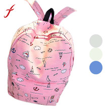 Feitong Fashion Girl Women Casual Printed Canvas Shoulder Backpack School Bag For Teenage Girls Free Shipping(China (Mainland))