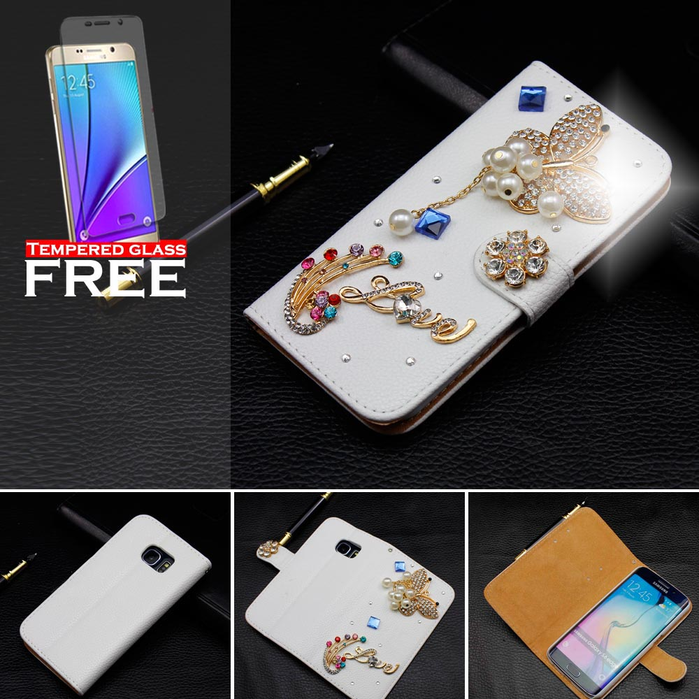 100pcs Phone cases For Apple iPhone 5 5s Crystal Rhinestone DIY Diamond Wallet Leather Flip Case Cover Shell +tempered glass(China (Mainland))
