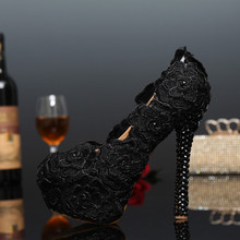 New Fashion Round Toe crystal Platform High-Heeled Lady Shoes sexy black lace flowers Wedding Shoes Evening Party Prom Shoes