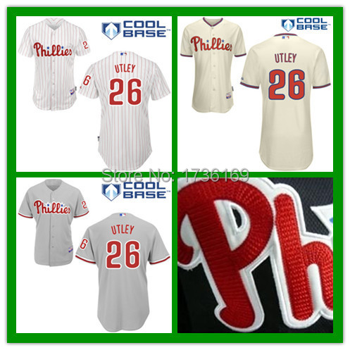 Hot Sale Philadelphia Phillies #26 Chase Utley Men's Embroidery and Stitched Authentic Cool Base Baseball Jersey S to XXXL(China (Mainland))
