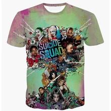 New Arrival Suicide Squad Harley Quinn Joker Anime T Shirt Harajuku Cartoon Character Full Printed 3D T-shirt Tee Tops Dropship(China (Mainland))