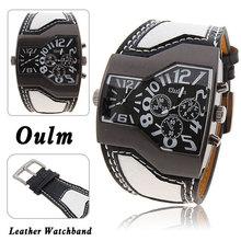 Moda barata de calidad Oulm 1220 hombres de lujo de militar reloj de pulsera con doble movimiento de cuarzo / correa de cuero 5 colores liberan el envío