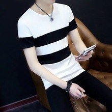 Buy 2017 New Fashion Summer Short Sleeved Black White Stitching Striped Men T Shirt Casual Patchwork Gentle Students T-shirt DM for $12.00 in AliExpress store
