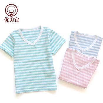 Plain yarn dyed baby short-sleeve T-shirt close-fitting child stripe v-neck T-shirt male 2671 girls clothing