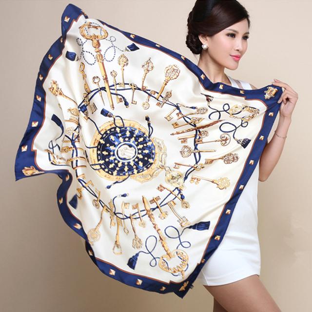 90 см * 90 см ключ H компас моделирования следа полотенце солнцезащитный крем платок шелковый шарф