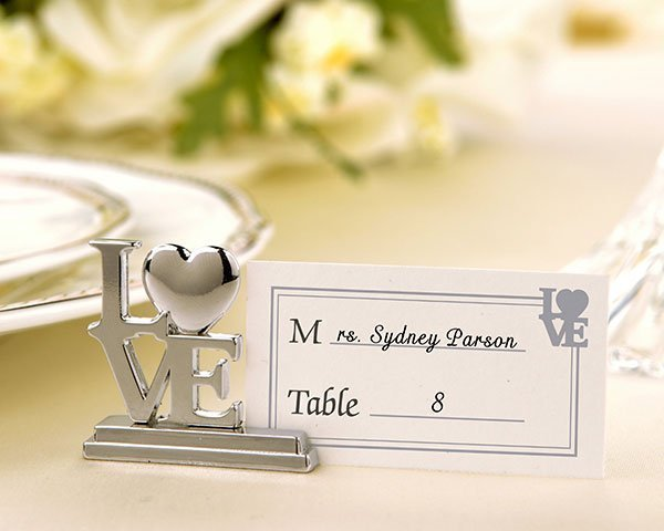 Free Shipping 500 pcs metal favors LOVE Place Card Holder Wedding Decoration Party supplies for Baby shower(China (Mainland))