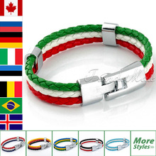 Free Shipping Fashion MENS Womens Flag Colors String Leather Bracelet Braided Friendship Gift LBW18