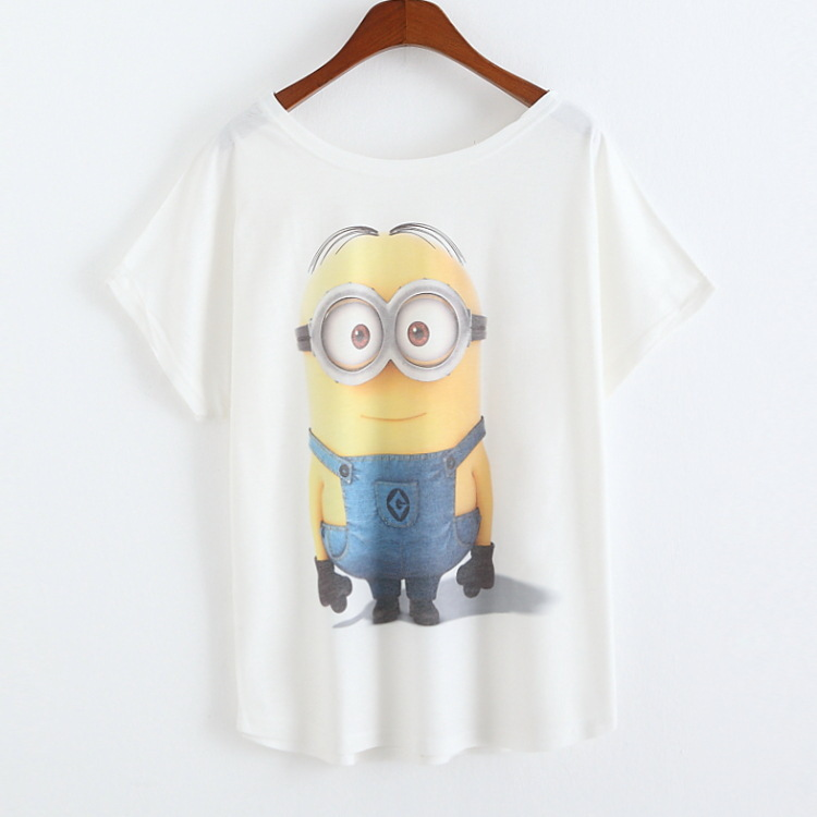 2016 Newest Fashion Loose Casual Short Sleeve T Shirts Women s Short Sleeve Tops Minions Printing