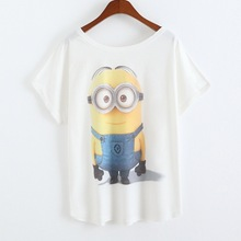 2016 Newest Fashion Loose Casual Short Sleeve T-Shirts Women's Short Sleeve Tops Minions Printing Cartoon T Shirt  Clothes