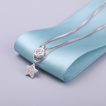 100% sterling silver jewelry shiny star necklaces silver 925 necklace & pendants for women free shipping