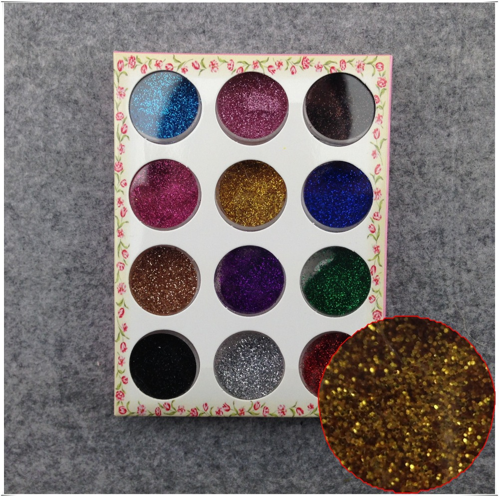 12 Colors Nail Art Glitter Powder Dust For UV GEL Acrylic Powder Decoration Tips + Free Shipping (NR-WS16)(China (Mainland))