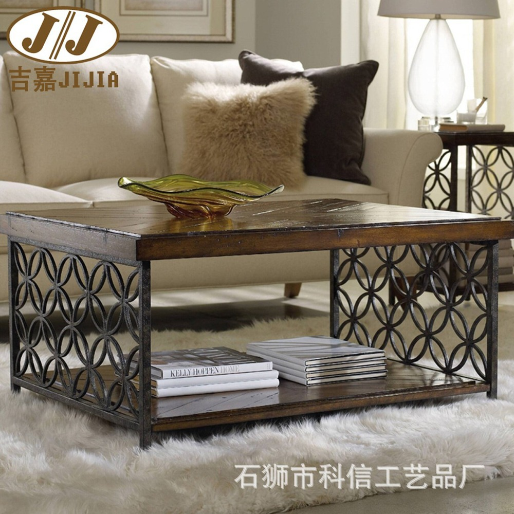 American country wrought iron wood coffee table side table, coffee table a few old re-do the old industrial style desk(China (Mainland))