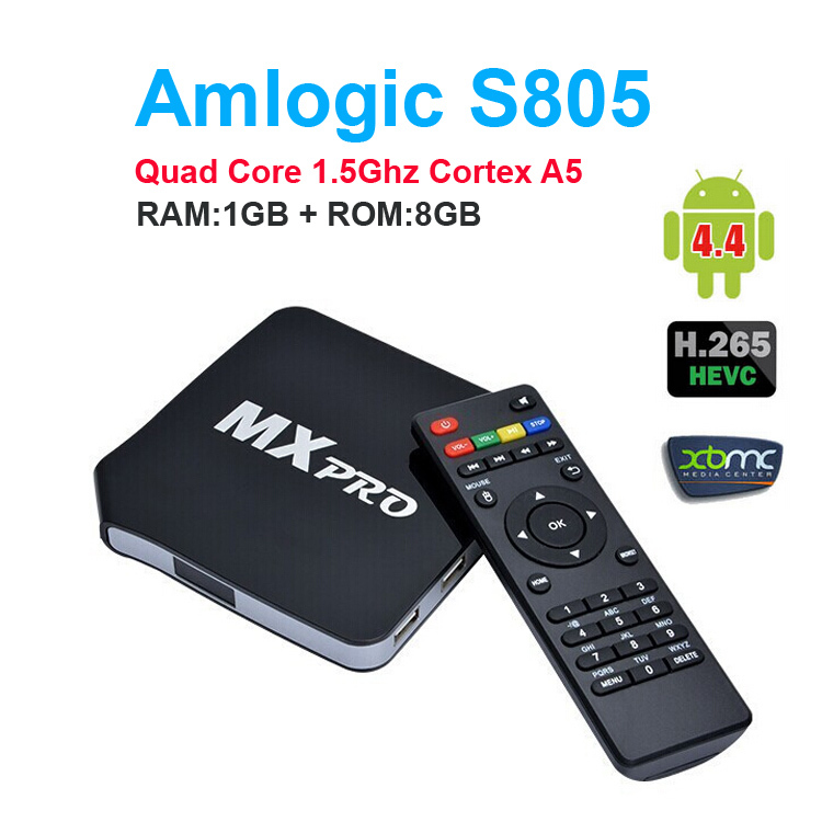 XBMC Fully Loaded MXpro Android TV Box XBMC Android 4.4.2 Quad Core 1G/8G AML S805 A9 WiFi kodi TV Box Android HD Media Player(China (Mainland))