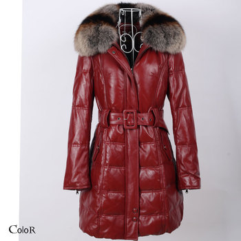 Leather clothing large fox fur genuine sheepskin leather down coat medium-long female slim down leather clothing