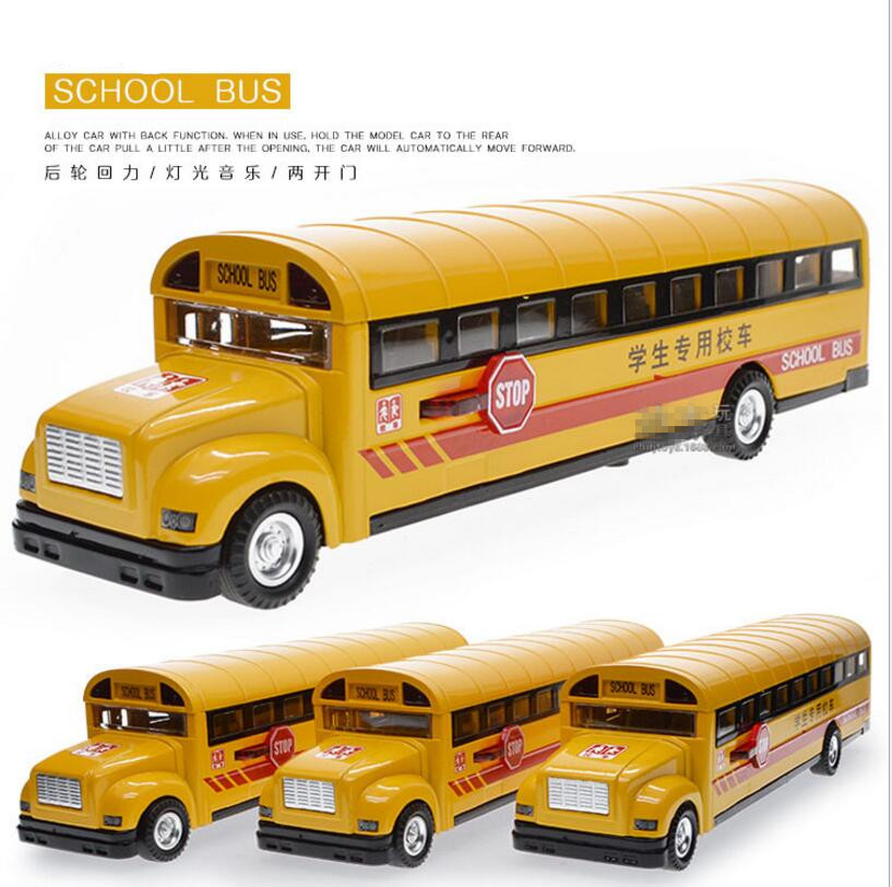 1:32 alloy car model school bus truck model toy sound and light music children's toys birthday gift free shipping(China (Mainland))