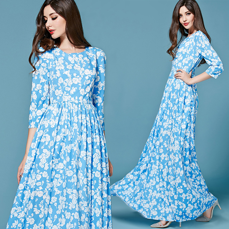2015 Early Spring Summer New Fashion Runway Women Elegant 3/4 Sleeve Plus Size XXL White Flowers Printed Light Blue Long DressОдежда и ак�е��уары<br><br><br>Aliexpress